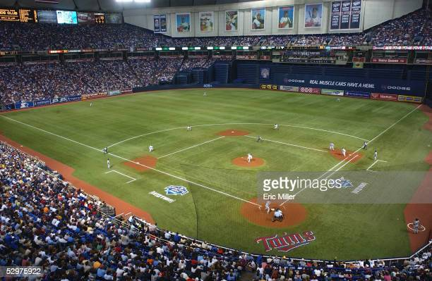 A general view of the field taken during the game between the Minnesota Twins and the Chicago White Sox at the Metrodome on April 8 2005 in...