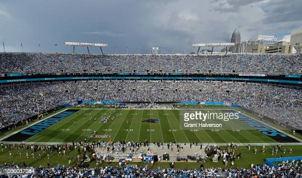 A general view of the field with the Carolina Panthers logo replacing the NFL logo at the fifty yeard line before the game between the Carolina...