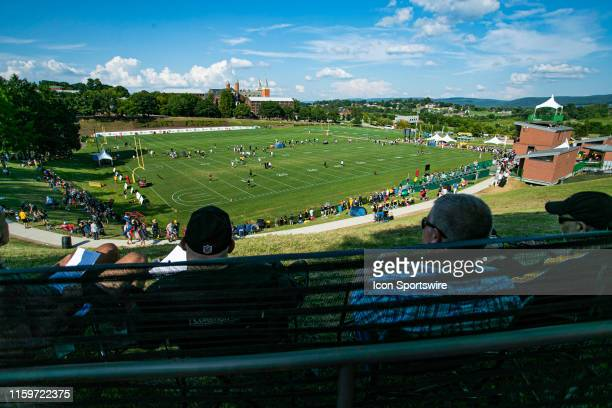 General view of the fields from above during the Pittsburgh Steelers training camp on August 3, 2019 at Chuck Noll Stadium at Saint Vincent College...