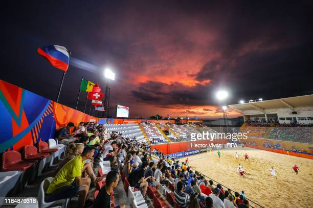 """General view of the FIFA Beach Soccer World Cup Paraguay 2019 group C match between Russia and Belarus at Estadio Mundialista """"Los Pynandi"""" on..."""