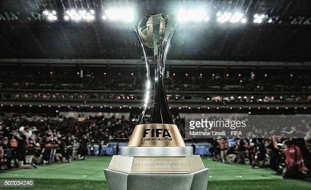 A general view of the FIFA Club World Cup trophy during the FIFA Club World Cup Final match between River Plate and FC Barcelona at International...