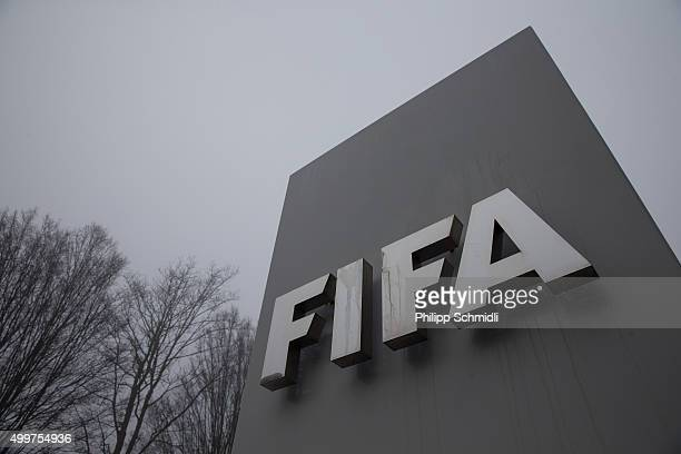 A general view of the FIFA logo outside the FIFA headquarters on December 3 2015 in Zurich Switzerland