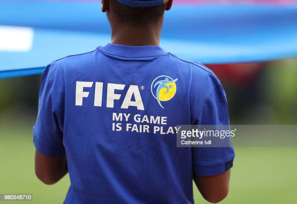General view of the FIFA my game is fair play logo during the 2018 FIFA World Cup Russia group C match between France and Peru at Ekaterinburg Arena...