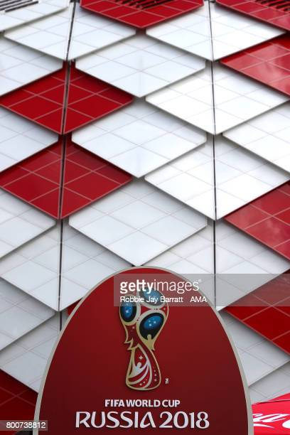 A general view of the FIFA World Cup Russia 2018 logo prior to the FIFA Confederations Cup Russia 2017 Group B match between Chile and Australia at...