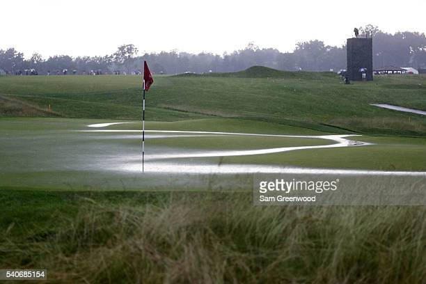 A general view of the fifth green during a delay due to inclemement weather during the first round of the US Open at Oakmont Country Club on June 16...