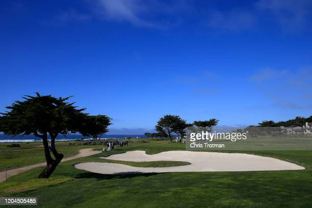 A general view of the fifth green during the first round of the ATT Pebble Beach ProAm at Monterey Peninsula Country Club on February 06 2020 in...