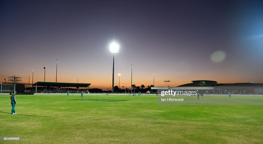 A general view of the filed of play is seen during the the Women's Big Bash League match between the Brisbane Heat and the Melbourne Stars at Harrup Park on January 12, 2018 in Mackay, Australia.