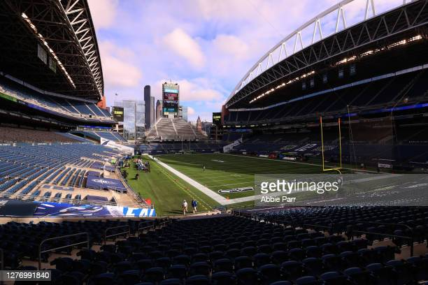General view of the filed prior to the game between the Dallas Cowboys and the Seattle Seahawks at CenturyLink Field on September 27, 2020 in...