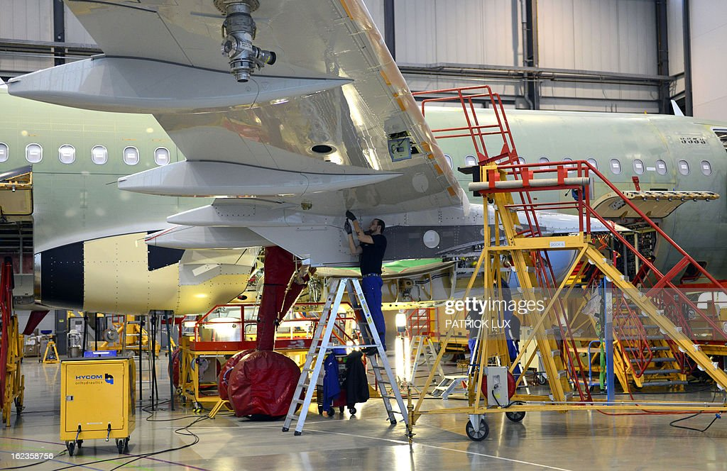 General view of the final assembly line of the Airbus A320 airplane at a production hall of Airbus on February 22, 2013 in Hamburg.