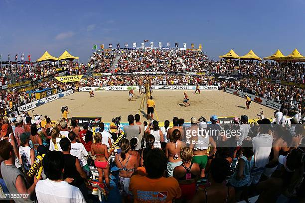 A general view of the final between Matt Fuerbringer and Casey Jennings against Dax Holdren and Sean Scott during the AVP Seaside Heights Open on...