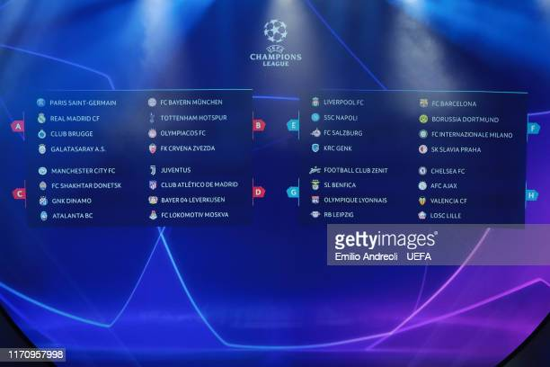 A general view of the final draw during the UEFA Champions League Draw part of the UEFA European Club Football Season KickOff 2019/2020 at Salle des...