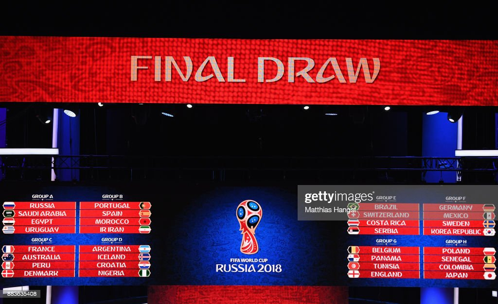A general view of the final draw results during the Final Draw for the 2018 FIFA World Cup Russia at the State Kremlin Palace on December 1, 2017 in Moscow, Russia.
