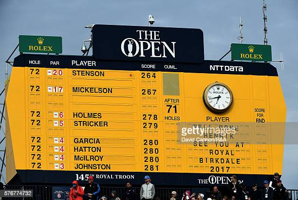 General View of the final leaderboard on the 18th hole during the final round on day four of the 145th Open Championship at Royal Troon on July 17...