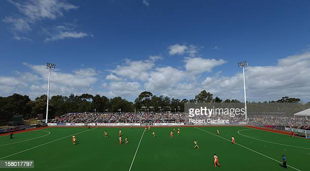 General view of the final match between Australia and the Netherlands during day six of the 2012 Champions Trophy at State Netball Hockey Centre on...