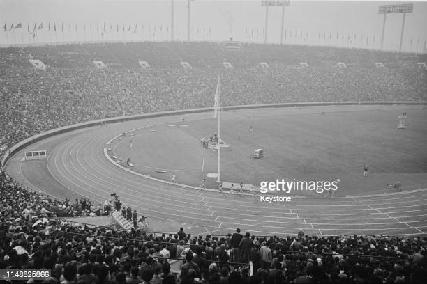 General view of the final of the Men's 1500 metres race on 21st October 1964 during the XVIII Summer Olympic Games at the National Stadium in...