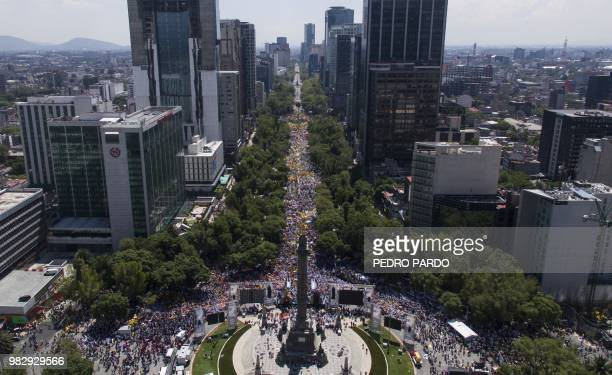 General view of the final rally of the campaign of Mexican presidential candidate Ricardo Anaya standing for the 'Mexico al Frente' coalition of the...