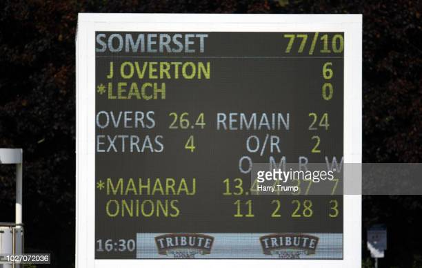 General view of the final scoreboar as Somerset are bowled out for 77 to tie the match during Day Two of the Specsavers County Championship Division...