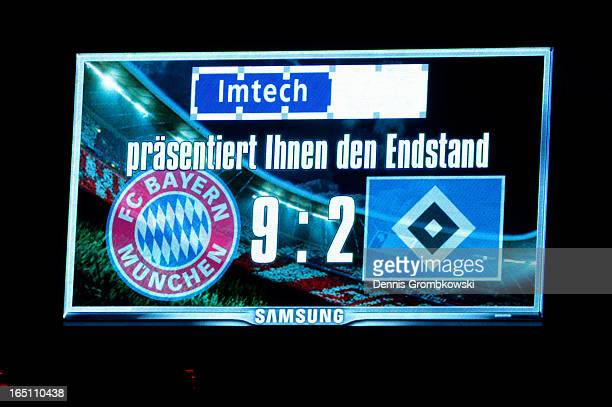 A general view of the final scoreboard after the Bundesliga match between FC Bayern Muenchen and Hamburger SV at Allianz Arena on March 30 2013 in...