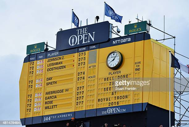 A general view of the final scoreboard during the final round of the 144th Open Championship at The Old Course on July 20 2015 in St Andrews Scotland