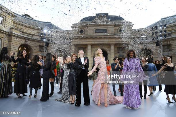 """General view of the finale on the runway during the """"Le Defile L'Oreal Paris"""" Show as part of Paris Fashion Week on September 28, 2019 in Paris,..."""