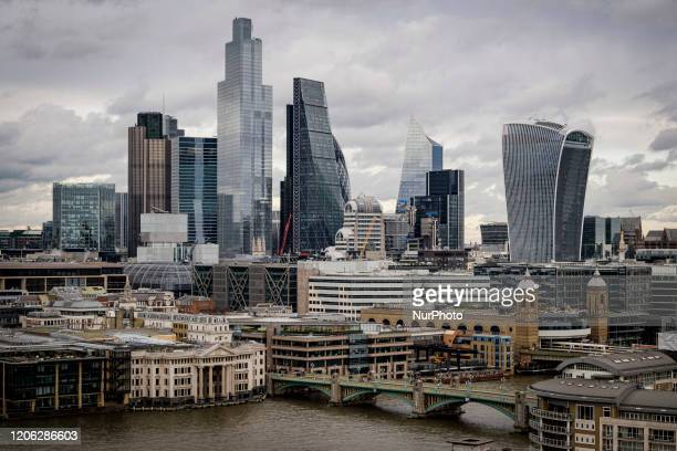 General view of the financial district of London UK on February 25 2020 Due to the combined effect of the coronavirus outbreak in Europe and the...