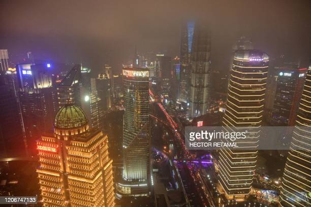 A general view of the financial district of Lujiazui is seen from the Oriental Pearl Tower Radio and Television Tower in Shanghai on March 12 2020...