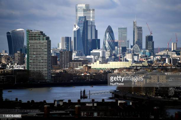 General view of the financial districts skyline of the City of London on November 18 2019