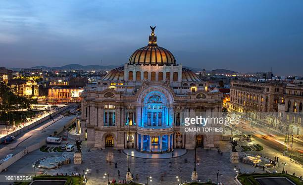 General view of the Fine Arts Palace with its entrance iluminated still in blue for Autism Awareness in Mexico city on April 09 2013 AFP PHOTO/OMAR...