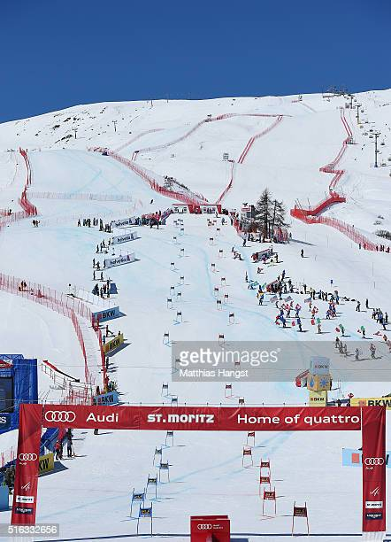 General view of the finish area during the Audi FIS Alpine Ski World Cup Finals Men's and Women's Team Event on March 18 2016 in St Moritz Switzerland