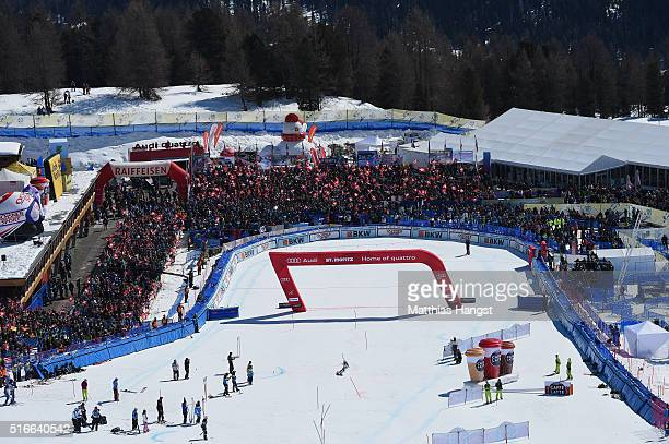General view of the finish area during the Audi FIS Alpine Ski World Cup Finals Women's Slalom on March 19 2016 in St Moritz Switzerland