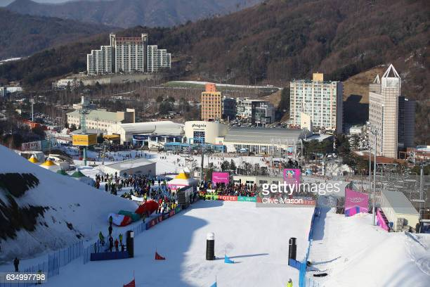 A general view of the finish arena during the FIS Freestyle World Cup Parallel Giant Slalom at Bokwang Snow Park on February 12 2017 in...