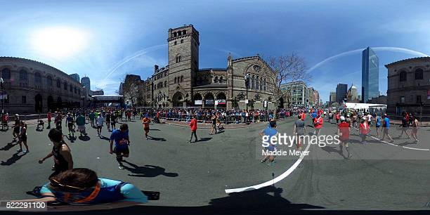 A general view of the finish line during the 120th Boston Marathon on April 18 2016 in Boston Massachusetts