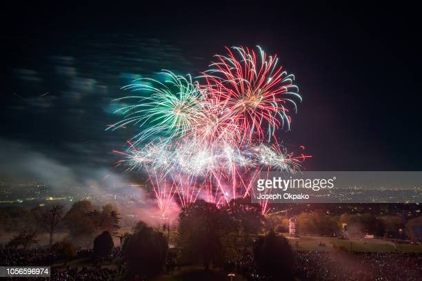 General view of the firework show during the 2018 Alexandra Palace Fireworks at Alexandra Palace on November 2, 2018 in London, England.
