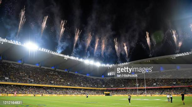 General view of the fireworks before the start of the round 1 NRL match between the North Queensland Cowboys and the Brisbane Broncos at Queensland...