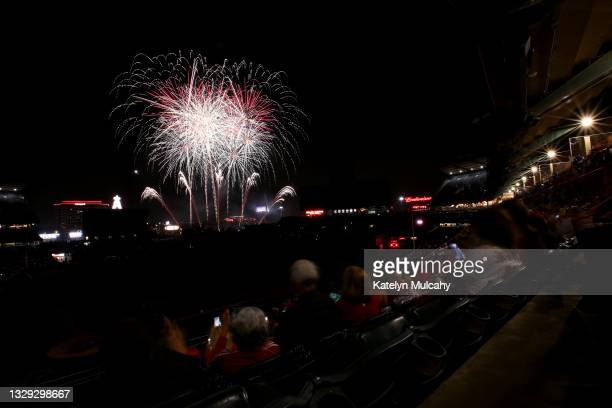 General view of the fireworks display after the game between the Los Angeles Angels and the Seattle Mariners at Angel Stadium of Anaheim on July 17,...