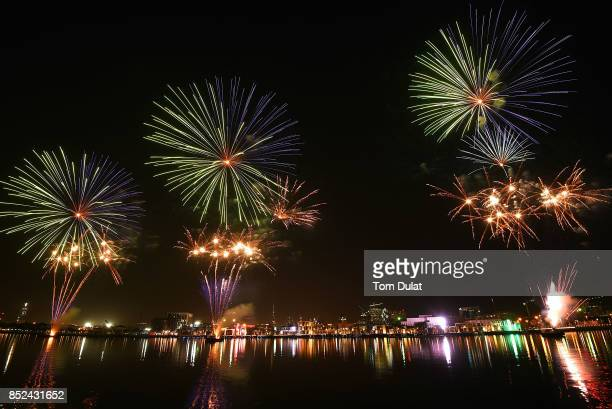 General view of the fireworks during KSA National Day Celebrations at Dubai Creek on September 23 2017 in Dubai United Arab Emirates