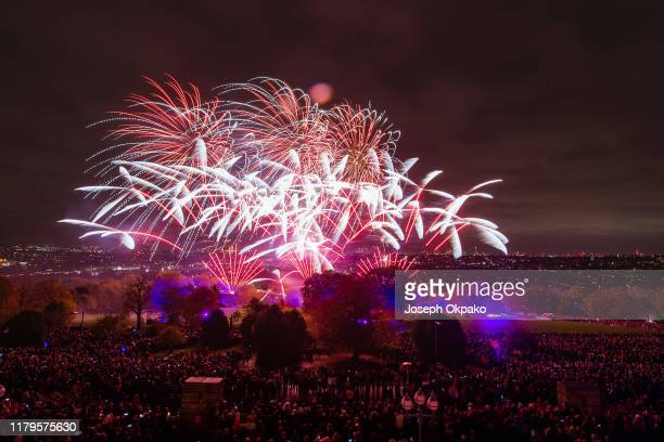 General view of the fireworks show during the Alexandra Palace Fireworks 2019 on November 2, 2019 in London, England.