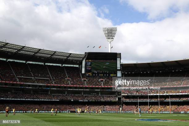 A general view of the first bounce during the 2017 AFL Grand Final match between the Adelaide Crows and the Richmond Tigers at Melbourne Cricket...