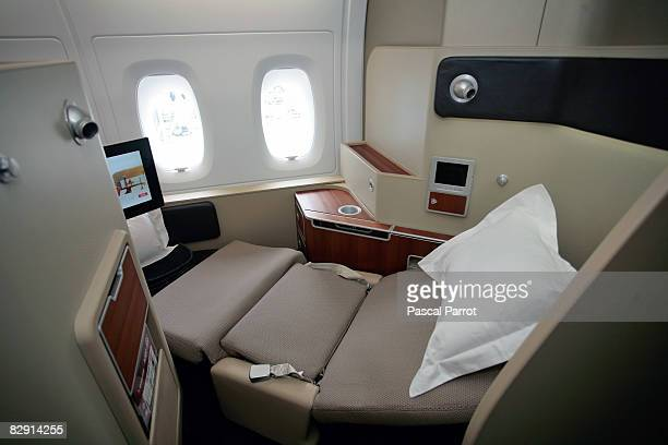 A general view of the first class cabin in an Airbus A380 at the EADS factory before flying via Singapore to Sydney Spetember 19 2008 in Toulouse...