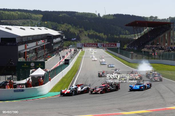 A general view of the first corner at the start with TOYOTA GAZOO RACING in the Toyota TS050 Hybrid driven by Sebastien Buemi of Switzerland Kazuki...
