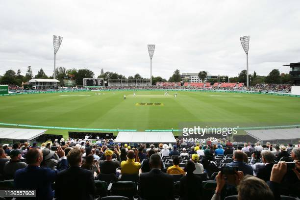 General view of the first delivery of the day and the first ever delivery during a Test match in Canberra on day one of the Second Test match between...
