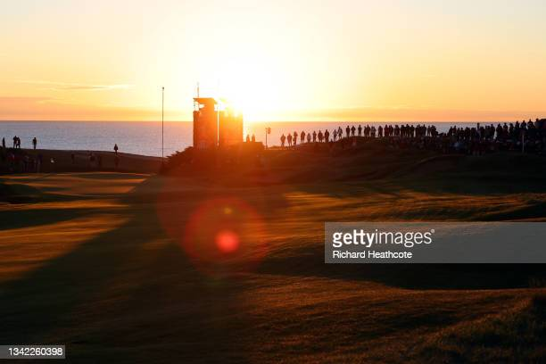 General view of the first green during Friday Morning Foursome Matches of the 43rd Ryder Cup at Whistling Straits on September 24, 2021 in Kohler,...