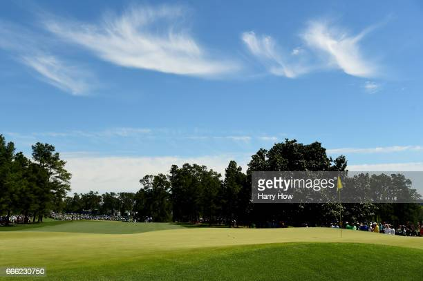 A general view of the first green is seen during the third round of the 2017 Masters Tournament at Augusta National Golf Club on April 8 2017 in...