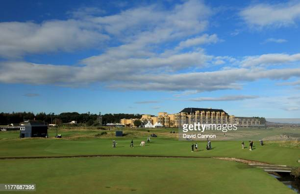General view of the first green with the Old Course Hotel behind during the third round of the Alfred Dunhill Links Championship on the Old Course at...