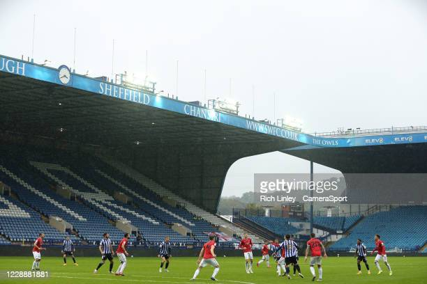 A general view of the first half action as heavy rain falls on Hillsborough Stadium home of Sheffield Wednesday during the Sky Bet Championship match...
