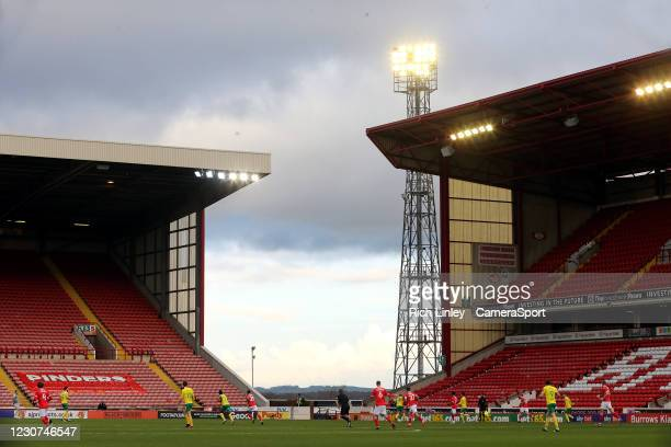 General view of the first half action at Oakwell, home of Barnsley during the The Emirates FA Cup Fourth Round match between Barnsley and Norwich...
