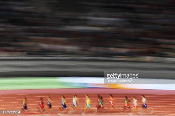 General view of the first heat of the Men's 1500 Metres heats during day seven of 17th IAAF World Athletics Championships Doha 2019 at Khalifa...