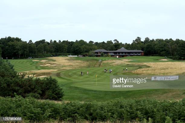 A general view of the first hole during The Rose Ladies Series at Bearwood Lakes on July 23 2020 in Wokingham England