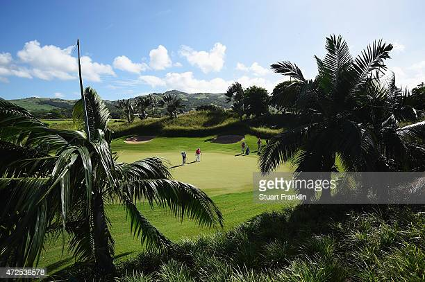 A general view of the first hole during the second round of the AfrAsia Bank Mauritius Open at Heritage Golf Club on May 8 2015 in Bel Ombre Mauritius