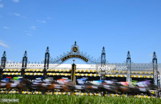 General view of the first lap in Race 7 Lexus Melbourne Cup during Melbourne Cup Day at Flemington Racecourse on November 6 2018 in Melbourne...